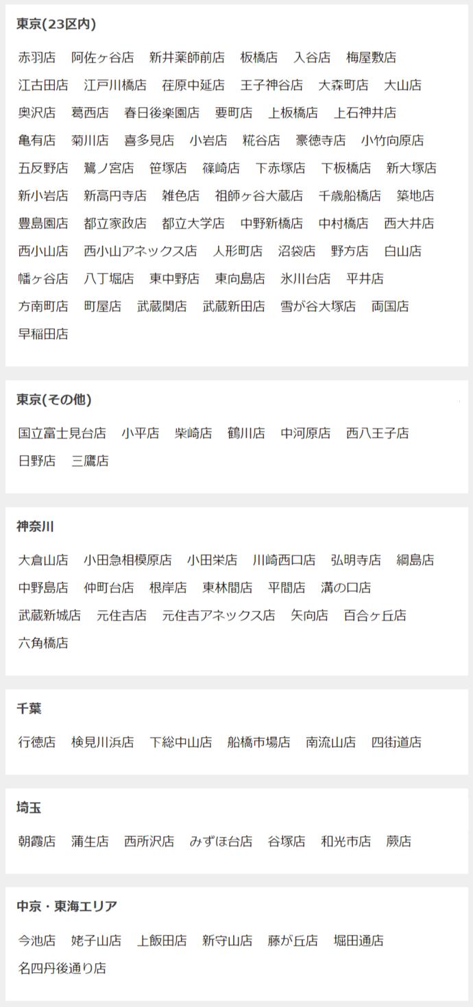 FASTGYM24の店舗一覧、東京23区、東京その他、神奈川、千葉、埼玉、中京・東海エリア、、