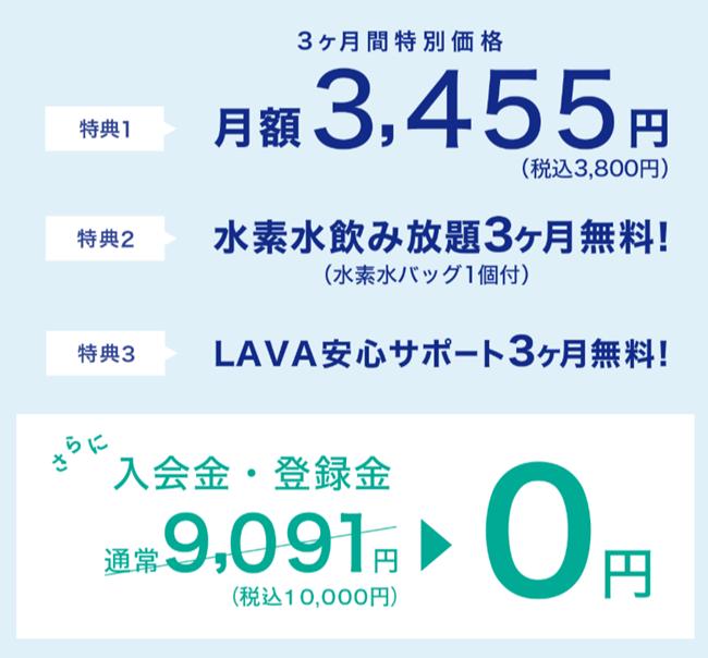 2020年8月31日までのキャンペーン情報2 月額3,455円 入会金0円