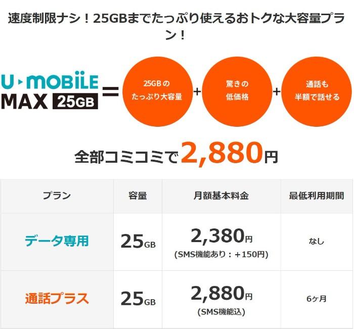 U-mobile MAXの料金
