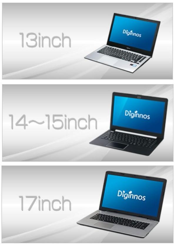 ドスパラノートPCの画面サイズ