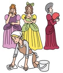 腰にコルセットを装着しているヨーロッパの貴族の女性