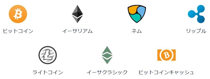 DMMビットコインの取扱通貨1