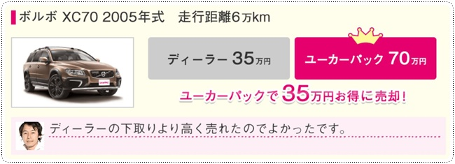 ボルボ XC70 2005年式 走行距離60,000キロ 35万円お得に売却