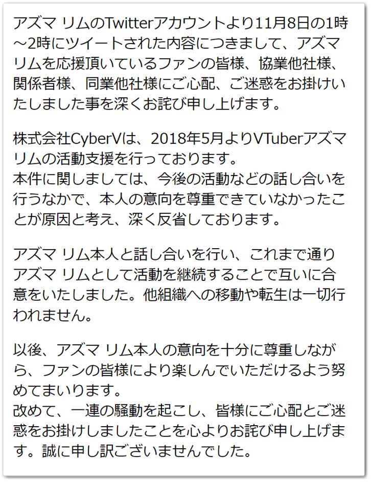 アズマリム-株式会社CyberV-謝罪