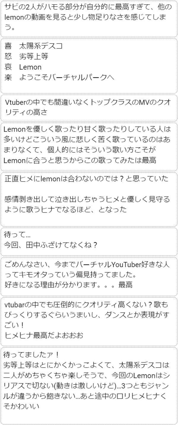 田中ヒメ、鈴木ヒナが歌う「Lemon」の感想